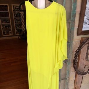 BCBG Maxazria lime green floor length dress
